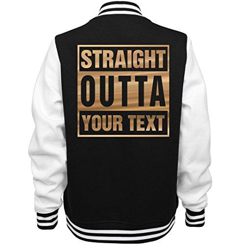 Metallic Custom Straight Outta Design: Ladies Fleece Letterman Varsity Jacket -