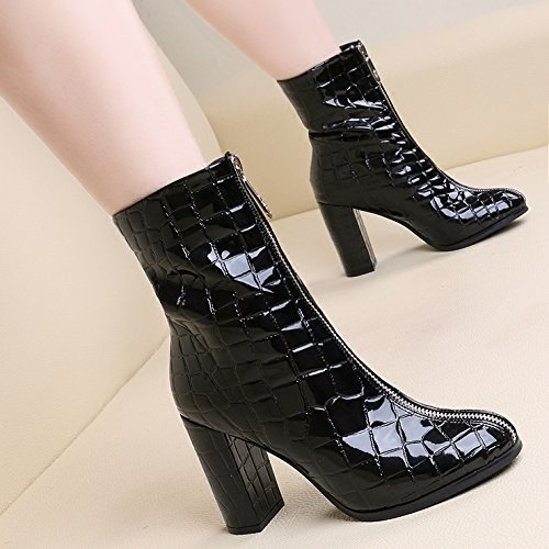 KHSKX-La Marea Gewen Square Zapatos De Invierno Botas Y Tacones Gruesos En Botas Botas De Tacón Alto Todo El Partido Martin black