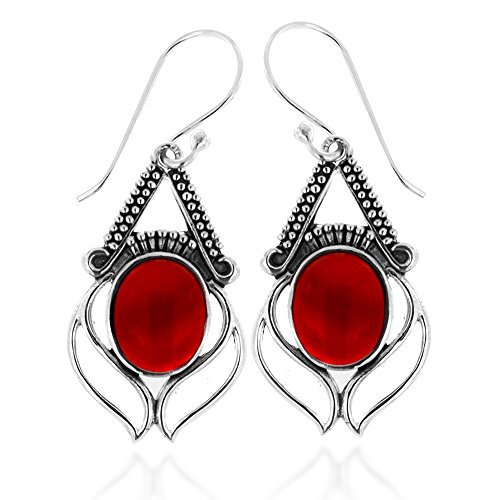 Red Carnelian Earrings (925 Oxidized Sterling Silver Red Carnelian Gemstone Oval Eye Dangle Earrings)