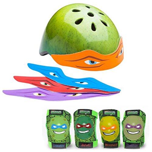 Turtles TMNT Kids Skate / Bike Helmet & Pads - 9 Piece Set ()