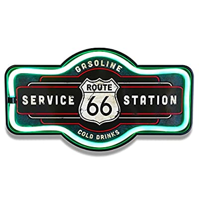 "Route 66 LED Lighted Sign, 17"" Marquee Shape, LED Light Rope Designed To Give Look Of Neon, Wall Decor For Home, Bar, Garage, or Man Cave"