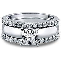 3PCS Fashion White Sapphire 925 sterling silver Wedding Engagement Ring (7)