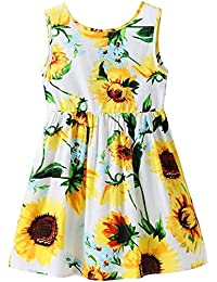 Girls Dress Kid Floral Sleeveless Cotton Sundress Summer Girl Clothes Size 2-7 Years