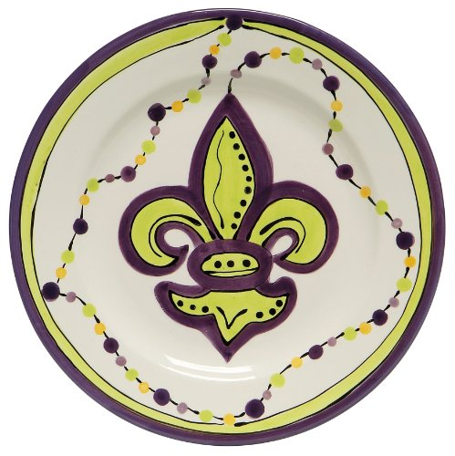 Caffco International Dana Wittmann Collection Ceramic Plates, Set of 4, 10.5-Inches in DiameterMardi Gras Fleur De ()