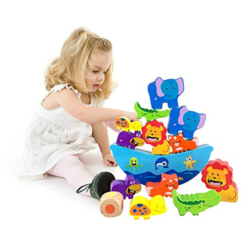 Lewo Wooden Stacking Blocks Baby Toddlers Toys Building