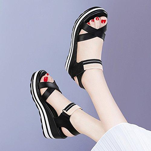 tabla de grueso mujer Tacones agua de cómodo altosSandalias tacón chica de suelo zapatos HUAIHAIZ alto Black IgwUqvw