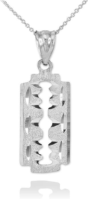 925 Sterling Silver Razor Blade two-sided Clip On Charm BELDIAMO Pendant-S