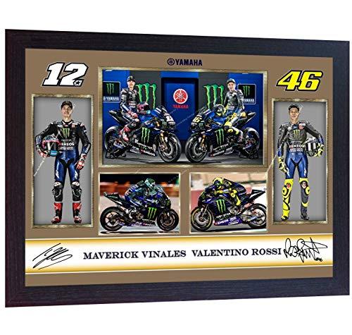 (S&E DESING New Valentino Rossi Maverick Vinales Signed Autographed Poster Photo Framed)
