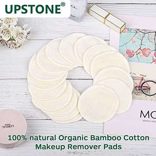 16 Bamboo Organic Reusable Makeup Remover Pads | Washable and Eco-Friendly | 2 Makeup Flawless Blending Sponge | Soft, Latex Free | 1 Cotton Laundry Bag | For All Skin Types