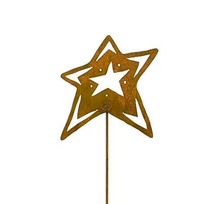 Open Star Decorative Metal Garden Stake, Whimsical Yard Art!