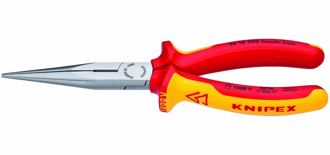 Knipex 2618200US 8-Inch Long Nose Pliers with Cutter - 1,000 Volt