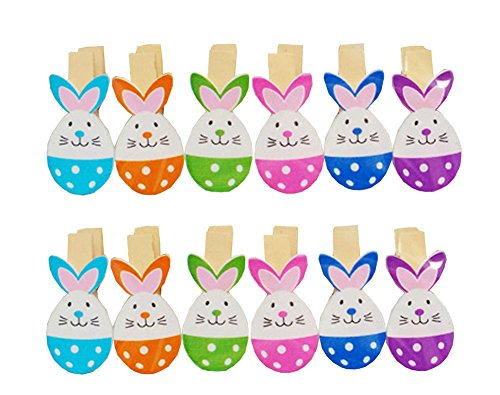 Postcard Easter (2Pack/24Pcs Paper Photo Peg Pin Postcard Mini Clothespin Cute Easter Egg Style Scrapbooking Craft Clips Photography Prop with Twine)