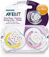 Philips Avent SCF170/24 - Chupetes ventilados (2 unidades, 6-18 meses), transparente, modelos surtidos