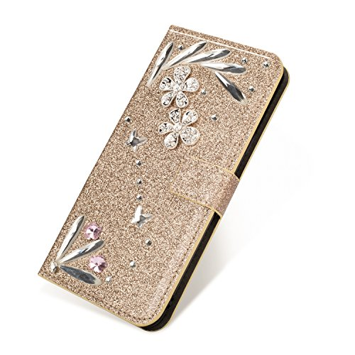SevenPanda Luxury Bling PU Leather Wallet Case for Hua Wei Mate 10 Pro, Diamond Glitter Crystal Rhinstone 3D Feather Flower Magnetic Clasp Flip Folio Stand Case for Huawei Mate 10 Pro - Gold