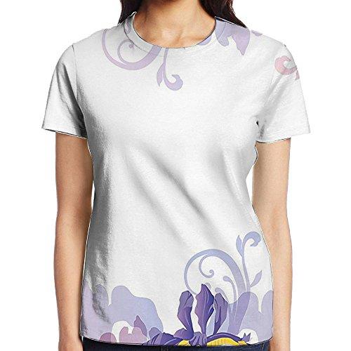 WuLion Classic Petals Pastel Toned Seasonal Florets Blooming Flowers Elegance Print Women's 3D Print T Shirt XXL White
