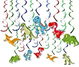 Aileenss Dinosaur Hanging Swirl Decorations | 30 Ct - PVC Foil Swirls, Red Yellow Green Blue, 36 inchs long | Dino Fossil Jurassic T-REX Theme Birthday Party Decor Favor Supplies Ornaments Kids