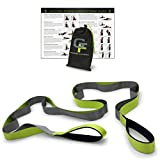 Gradient Fitness Stretching Strap, Premium Quality Multi-loop Strap, Neoprene Padded Handles, 12 Loops, 1.5' W x 8' L (Green and Grey)
