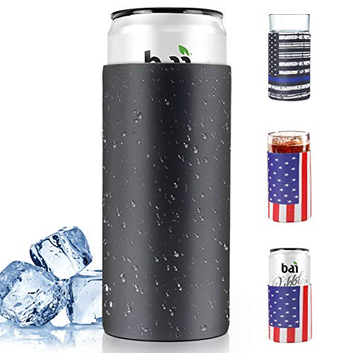12 Oz Can Cooler Set, Double Walled Vacuum Stainless Steel Insulator + Extra 3 Pack Soft Neoprene Can Coozie, Can Beer Sleeves Slim Can Holders Set for Family Drink, Amercian Flag Design