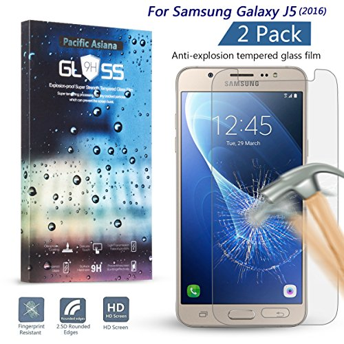 [2Pack] Galaxy J5 (2016) Tempered Glass Screen Protector, Pacific Asiana (HD) Clear Thin Glass Screen Cover Film, 9H Scratchproof/Anti-fingerprint/Bubble Free Invisible Skin Shield for Samsung J5 2016