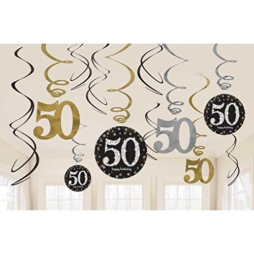 Amscan Party Supplies Sparkling Celebration 50 Value Pack Foil Swirl Decorations (12 Piece), Multi (50 Party Supplies)