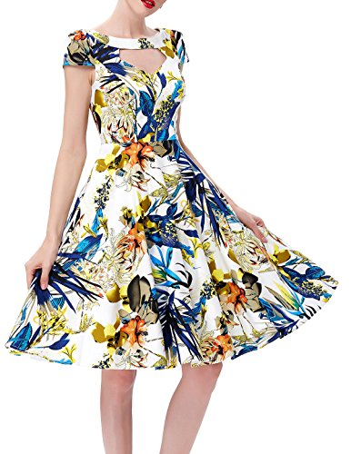 Combed Cotton Cocktail Women Belle Sleeve 1 Vintage Hollowed Bp08 Short Poque® Swing Dresses PH6nqwxa1C