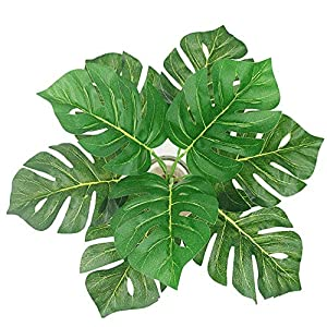 15.5 inch 2 branches Tropical Leaves Artificial Simulation Palm Monstera Fake Plant Decorative Flower arrangement Greenery Plants 9 leaves per branch for wedding Home Kitchen Party Supplies 82