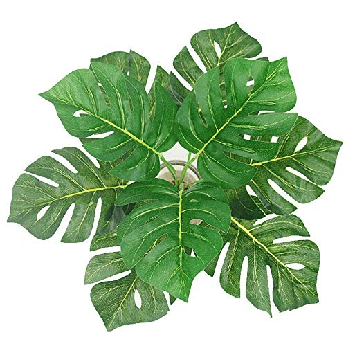 155-inch-2-branches-Tropical-Leaves-Artificial-Simulation-Palm-Monstera-Fake-Plant-Decorative-Flower-arrangement-Greenery-Plants-9-leaves-per-branch-for-wedding-Home-Kitchen-Party-Supplies