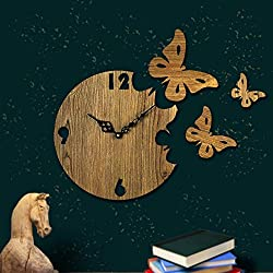 Sehaz Artworks Moon_Butterfly Manufactured Wood 10 inch Designer Wall Clock for Home and Kitchen - Beige