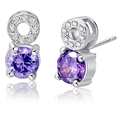 18k White Gold Gemstone and Cubic Zirconia Stud Earrings