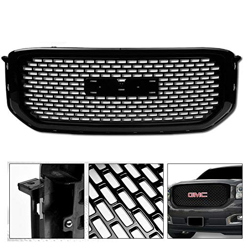 (VXMOTOR foir 2015-2018 GMC Yukon/XL/Denali - Glossy Black OE Sport Square Mesh Front Hood Bumper Grill Grille Kit Cover Guard Replacement Conversion ABS)
