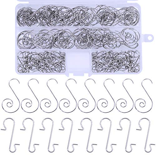 (Supla 120 Pcs 2 Style Christmas Sliver Ornament Hooks Hangers Spiral Hook Metal Decorative Hangers Scroll Wire Tree S Ornament Mini Hooks Metal Ornament Hooks S Hooks for Hanging)