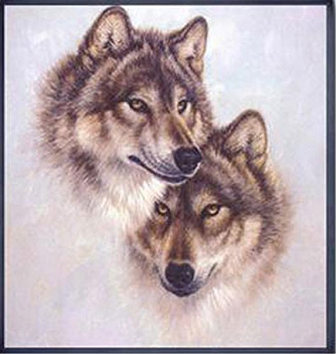 INK WASH DIY Handmade Needlework Cross Stitch Set Embroidery Kit Printed Wolf Totem Design Cross-Stitching 42 45cm for Home Decoration