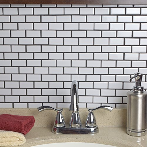 SomerTile FKOVBS11 Marion Subway Porcelain Mosaic Floor and Wall Tile, 11.875'' x 12'', Glossy White by SOMERTILE (Image #8)
