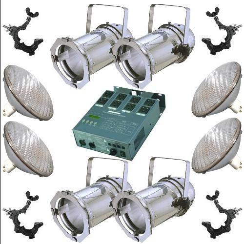 4 Silver PAR CAN 64 500w NSP Bulbs O-Clamp Dimmer