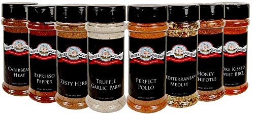 Caravel Gourmet - 8 Pack of Spices Truffle Garlic Parm, Perfect Pollo, Zesty Herb, Mediterranean Medley, Espresso - All Natural, Kosher, Gluten Free Non-GMO