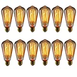 KINGSO Vintage Edison Bulbs 40W Squirrel Cage Filament Incandescent Antique Light Bulb for Home Light Fixtures E27 Base ST64 110V - 12 Pack