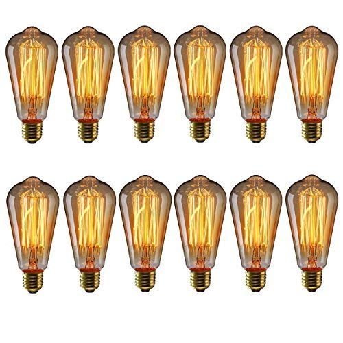 KINGSO Vintage Edison Bulbs 40W Squirrel Cage Filament Incandescent Antique Light Bulb for Home Light Fixtures E27 Base ST64 110V - 12 Pack by KINGSO