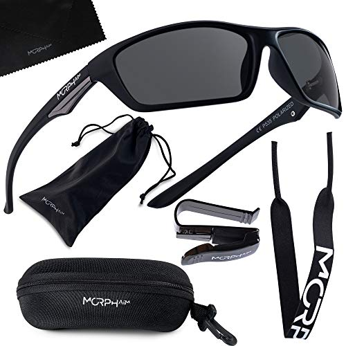 Polarized Sports Sunglasses for Men and Women - UV400 Protective and Glare Blocking - w. Bundle