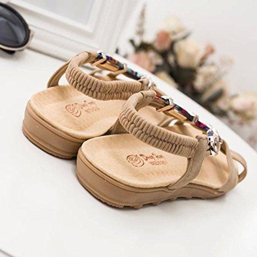 Été Chaussures Peep Sandales Pantoufles Basses Chaussures à Sandales Dames by Tongs Beige Chaussures Femmes LHWY Bohème Romaines Talon Plates Plat Femmes Fleur Sandales Casual Toe D'Été qtBUZaOU