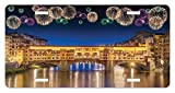 zaeshe3536658 Landscape License Plate, Night Panoramic View Vecchio Bridge Florence Italy Colorful Fireworks, High Gloss Aluminum Novelty Plate, 6 X 12 Inches.