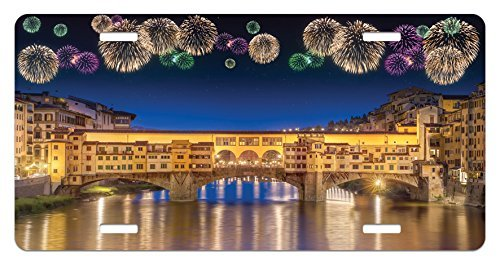 zaeshe3536658 Landscape License Plate, Night Panoramic View Vecchio Bridge Florence Italy Colorful Fireworks, High Gloss Aluminum Novelty Plate, 6 X 12 Inches. by zaeshe3536658