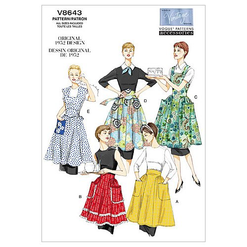 Vintage Aprons, Retro Aprons, Old Fashioned Aprons & Patterns 1952 Vogue Patterns V8643 Aprons  AT vintagedancer.com