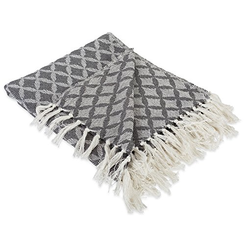 DII Modern Moroccan Cotton Blanket Throw with Fringe For Chair, Couch, Picnic, Camping, Beach, & Everyday Use , 50 x 60 - Lattice Diamond Mineral Gray