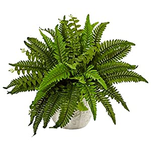 Nearly Natural Boston Artificial Fern in Planter Green 109