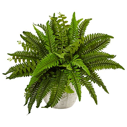 Nearly Natural Boston Artificial Fern in Planter, Green