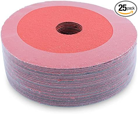 """25 Pack 4.5/"""" Black Hawk 36 Grit A//O Resin Fiber Disc Grinding /& Sanding Discs"""