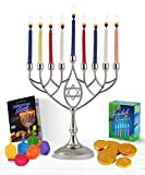 Zion Judaica Hanukkah Value Kit - Full Size Solid Menorah 44 Colored Candles Complete Hanukkah Guide Booklet 6 Colored Dreidels Sack of Milk Belgian Hanukkah Coins Gelt - All Essentials in 1 Box