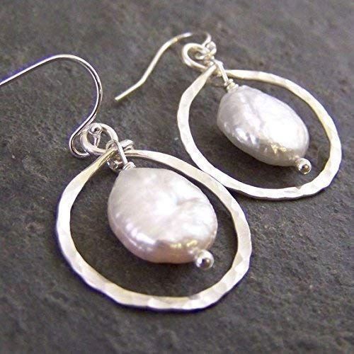 (Coin Pearl and Hoop Earrings - Hammered, Cultured Freshwater)