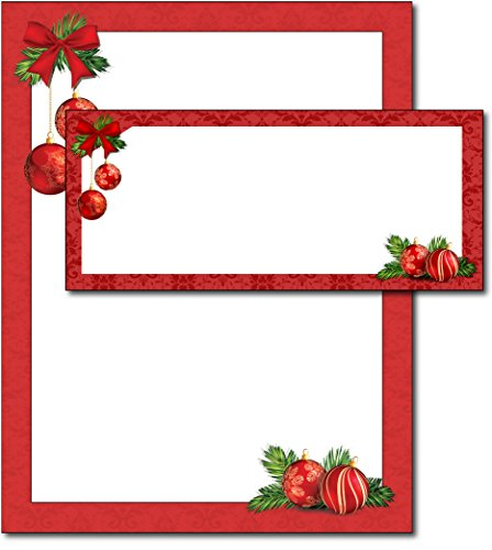 Red Christmas Bulbs Holiday Paper & Envelopes - 40 Sets (Christmas Stationery Envelopes And)