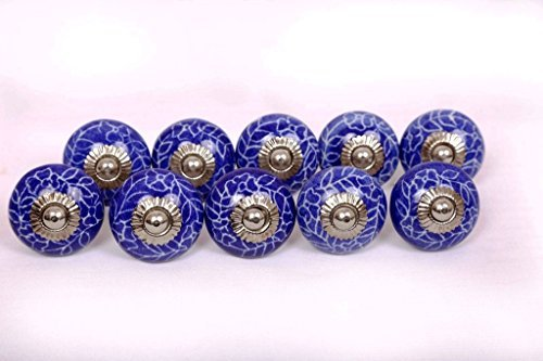 Glitknob 10 Knobs Blue & White Hand Painted Ceramic Knobs Cabinet Drawer Pull by Glitknob